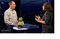 Bildausschnitt: Thomas Ranft vom Hessischen Rundfunk und Martina Winker vom ISOE im Dialog