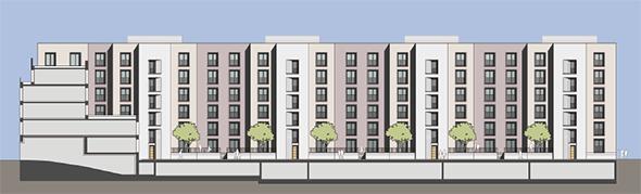 Zeichnung: Ansicht des geplanten Passivhausneubaus in der Salvador-Allende-Straße